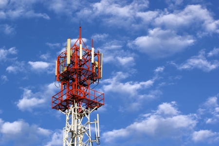 telecommunication tower: Telecommunication tower with beautiful sky Stock Photo
