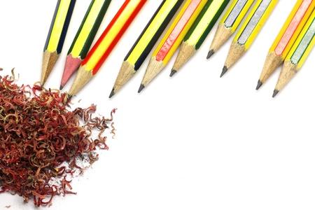 Bleistift Und Farbstift Späne Auf Weißem Hintergrund Lizenzfreie ...