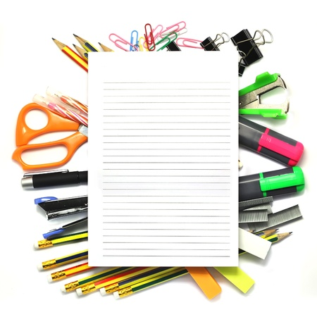 Group of various stationary as background Stock Photo - 21137721