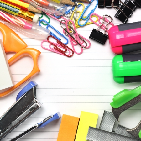 Group of various stationary as background photo