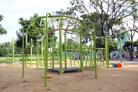 Colorful children playground in the park photo