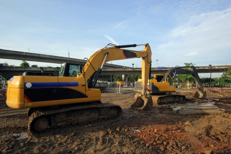 excavator and backhoe on construction site Stock Photo