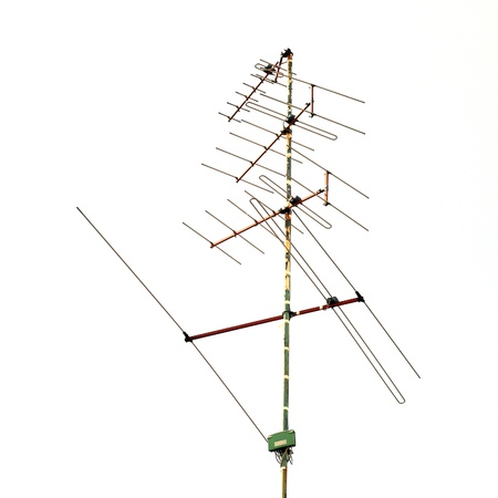 television antenna isolated on white background photo