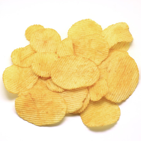 heap of potato crisps isolated on white  Stock Photo