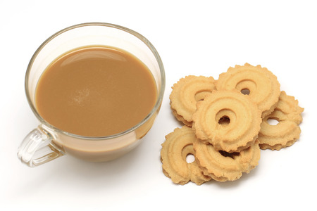 cookie and coffee isolated on white background
