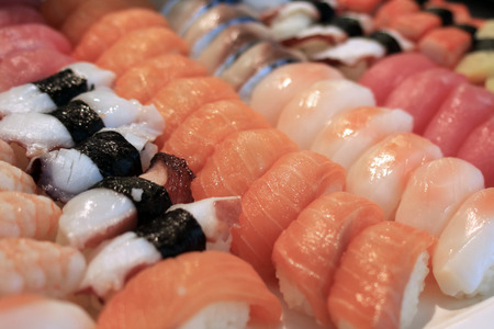 closeup of sushi rolls traditional japanese food  Stock Photo