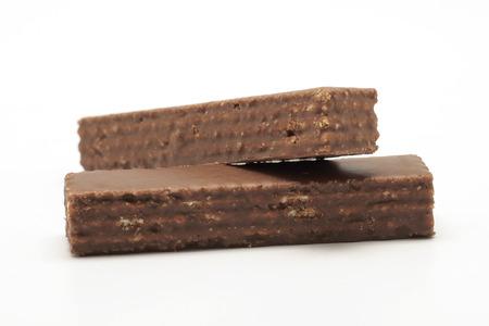 chocolate background: chocolate waffles isolated on white background