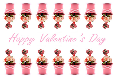 artificial rose in flowerpot for valentine day Stock Photo