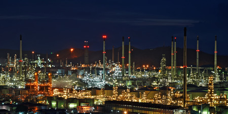 fuel and power generation: The Oil refinery with beautiful sky background