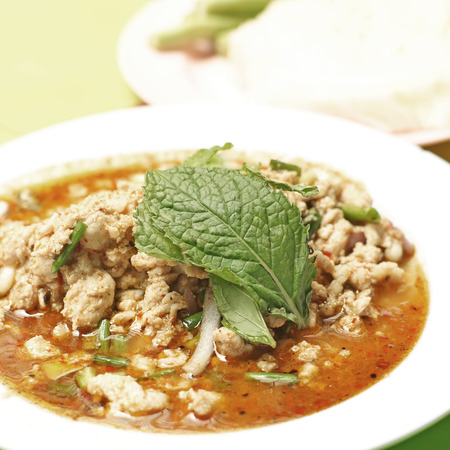 minced meat: famous thai food, minced meat spicy salad