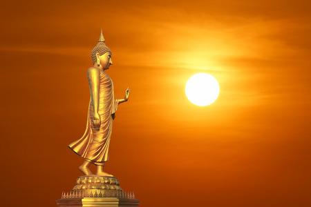 buddha image: golden buddha image with beautiful sunset background