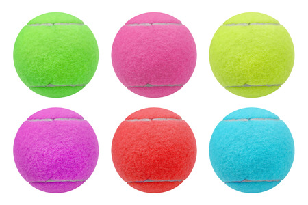 individual sport: exotic color tennis ball  isolated on white background Stock Photo