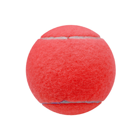 individual sport: exotic red color tennis ball  isolated on white background