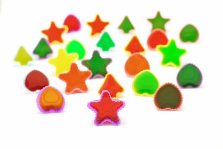 gelatin: colorful gelatin or jelly dessert isolated on white background