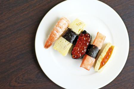 susi: closeup of sushi rolls traditional japanese food