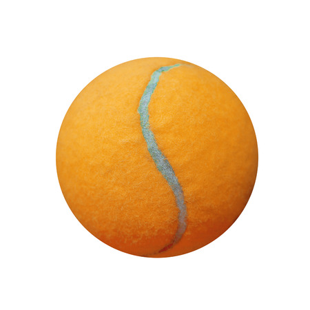 individual sport: exotic orange color tennis ball  isolated on white background