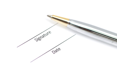 acknowledgment: signature field on document with a pen