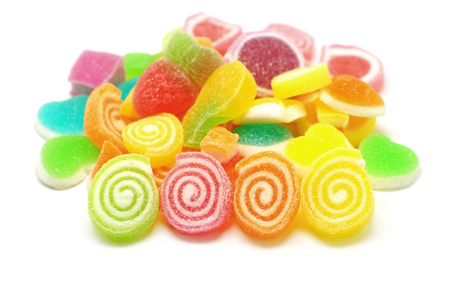 sweetmeats: jelly candy sweet with sugar isolated on white background Stock Photo