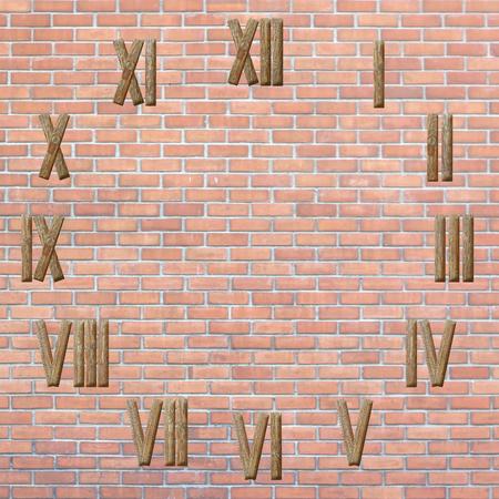 numeros romanos: n�meros romanos del reloj en el fondo pared de ladrillo rojo Foto de archivo