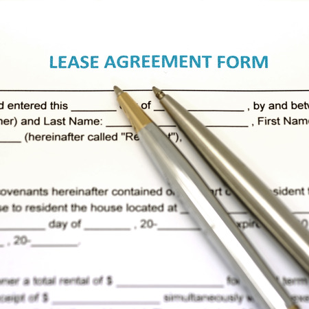 lease: lease agreement document with pen Stock Photo
