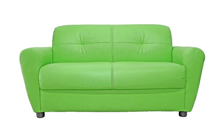 sofa furniture: green sofa furniture isolated on white background Stock Photo