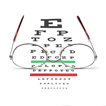 sight chart: glasses on snellen eye sight chart test background