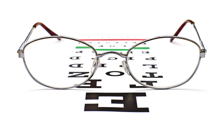 testing vision: glasses on snellen eye sight chart test background