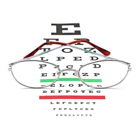 Glasses On Snellen Eye Sight Chart Test Background Stock Photo