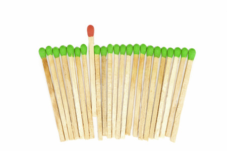 matchstick: leadership concept  idea, one matchstick standing out from other Stock Photo