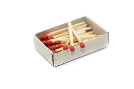 matchstick: matchstick in matchbox isolated on white background