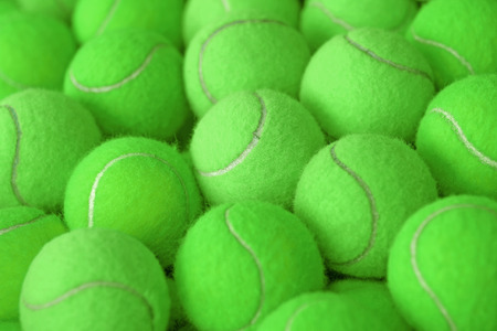 individual sport: exotic green tennis ball as sport background Stock Photo