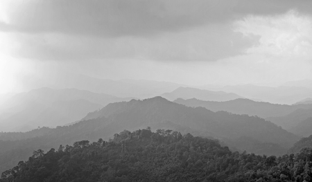 fog white: black and white misty mountain hills landscape, layers of mountains with fog