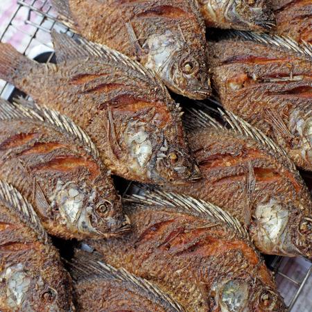 nilotica: fried nile tilapia or oreochromis nilotica fish at street market