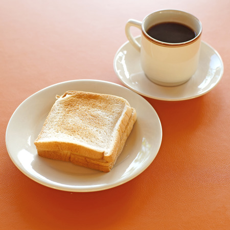 breakfast meal with coffee and slice toast Stock Photo