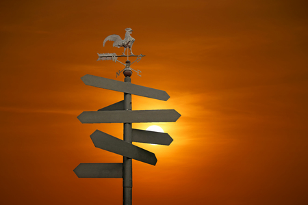 direction sign: direction sign with blank spaces for text on beautiful sunset background