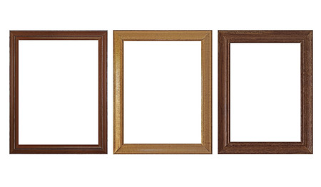 wooden empty picture frames isolated on white background Stockfoto