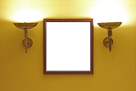interior lighting: gallery interior, empty picture frames on the wall with lighting Stock Photo