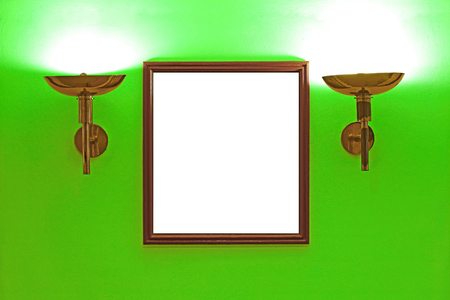interior lighting: gallery interior, empty picture frames on green wall with lighting