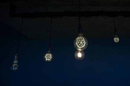 Decorative antique tungsten light bulbs hanging on ceiling stock decorative antique tungsten light bulbs hanging on ceiling photo aloadofball Choice Image