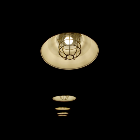 hanging lamp: old hanging lamp with light bulbs in dark room