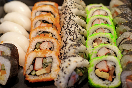 closeup of sushi rolls traditional japanese food