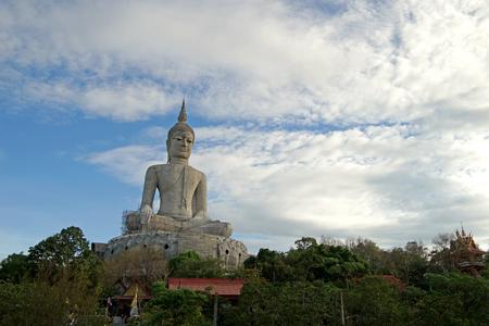buddha image: big buddha image under construction with beautiful sky background Stock Photo