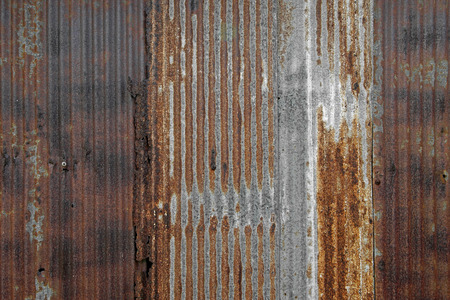 dirty sheet: rusty corrugated iron as background or texture Stock Photo