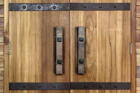 door knob: old antique door handle and door lock on wooden door
