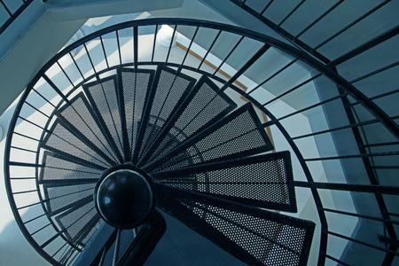 鉄骨螺旋階段の平面図 写真素材