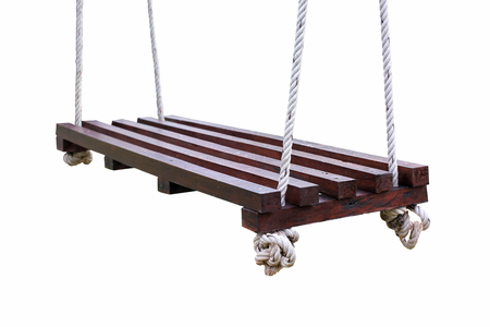 empty wooden swing isolated on white background