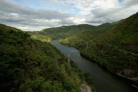 river and mountain above bhumibol dam thailand Stock Photo