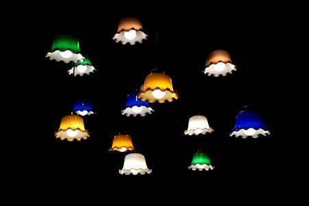 pile of decorative vintage  lamp hanging on ceiling Stock Photo