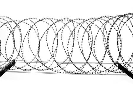 Stacheldrahtzaun isoliert auf weißem Hintergrund Standard-Bild - 96167880