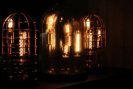 decorative antique tungsten light bulbs in steel cage